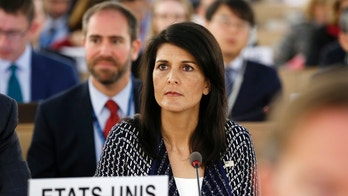 United States permanent Representative to the United Nations Ambassador Nikki Haley waits before delivering a speech about the current humanitarian situation in the world, during the opening of the 35th session of the Human Rights Council, at the European headquarters of the United Nations in Geneva, Switzerland, Tuesday, June 6, 2017. (Magali Girardin/Keystone via AP)