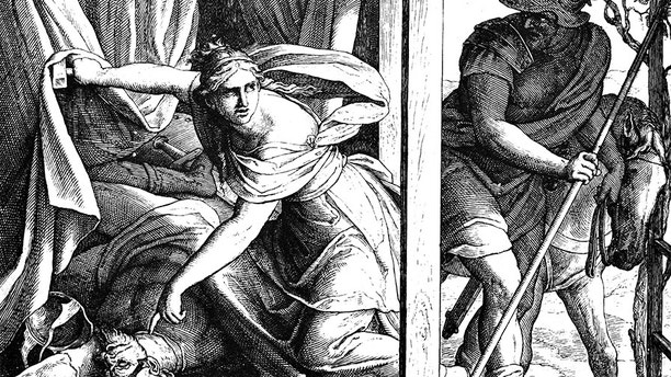 Jael Kills Sisera 1) Sacred-biblical history of the old and New Testament. two Hundred and forty images Ed. 3. St. Petersburg, 2) 1873. 3) Russia 4) Julius Schnorr von Carolsfeld