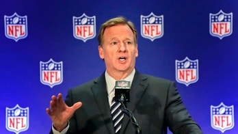 """FILE - In this Oct. 18, 2017, file photo, NFL commissioner Roger Goodell speaks during a news conference, in New York. The NFL expects a five-year contract extension with Commissioner Roger Goodell to be finalized soon, despite a threatened lawsuit by Dallas Cowboys owner Jerry Jones. NFL spokesman Joe Lockhart said Thursday, Nov. 9, 2017, that """"our expectation is this will be wrapped up soon, but we can't project an actual date.""""(AP Photo/Julie Jacobson, File)"""