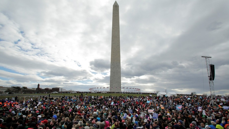 FILE -- Thousands of people gather for the annual March for Life rally in Washington, DC, U.S. January 27, 2017.
