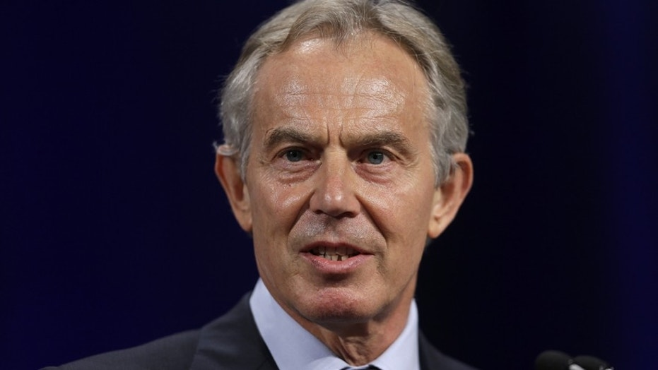 FILE -- Former British Prime Minister Tony Blair speaks at Lafayette College in Easton, Pa.