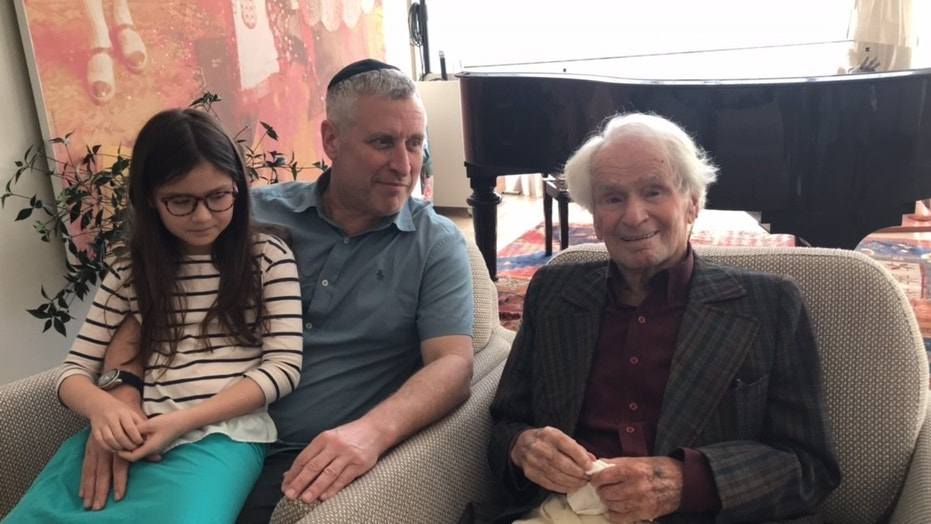 Michael Levin with his daughter Aliya and his great-uncle Jacques Graubart last week in Israel.
