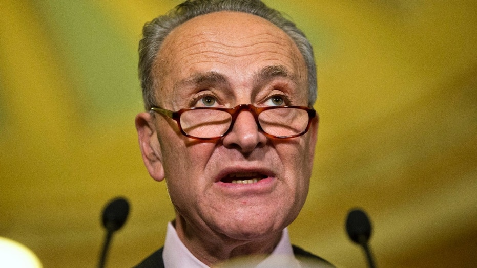 Senate Minority Leader Charles Schumer, D-N.Y., speaks to the media on Capitol Hill in Washington, Tuesday, May 17, 2016.