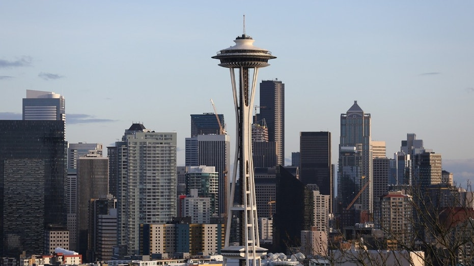 FILE -- The Space Needle is seen on the skyline of tech hub Seattle, Washington.