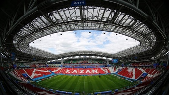 A general view shows the Kazan Arena before the Australia's official training for the group C match between France and Australia at the 2018 soccer World Cup in the Kazan Arena in Kazan, Russia, Friday, June 15, 2018. (AP Photo/Hassan Ammar)