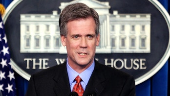 Tony Snow speaks to reporters after U.S. President George W. Bush announced that Snow would serve as the new White House press secretary in the briefing room of the White House in Washington April 26, 2006. Snow, a Fox News Radio host, replaced Scott McClellan who announced his resignation last week as part of a staff shake-up engineered by new White House Chief of Staff Josh Bolten aimed at reviving Bush's presidency.        REUTERS/Kevin Lamarque - GM1DSLXXSKAA
