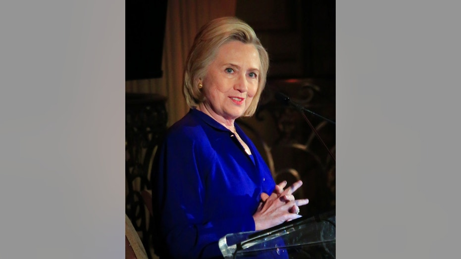 Hillary Clinton delivers the keynote address at the 8th Annual Elly Award luncheon, after being one of three women receiving this year's award on Monday, June 18, 2018, in New York.