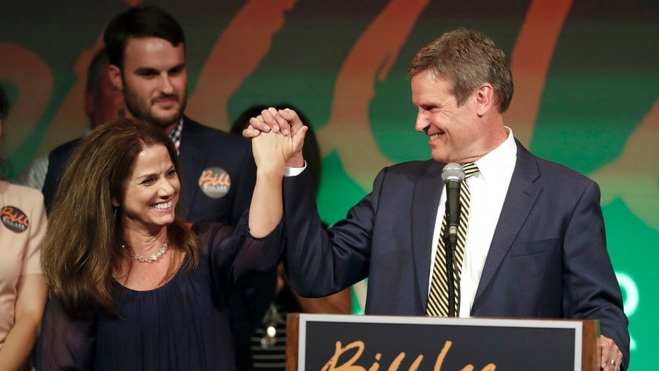 Bill Lee and his wife, Maria, thank supporters at a victory party in Franklin, Tenn., after Lee won the Republican nomination for Tennessee governor, Aug. 2, 2018.