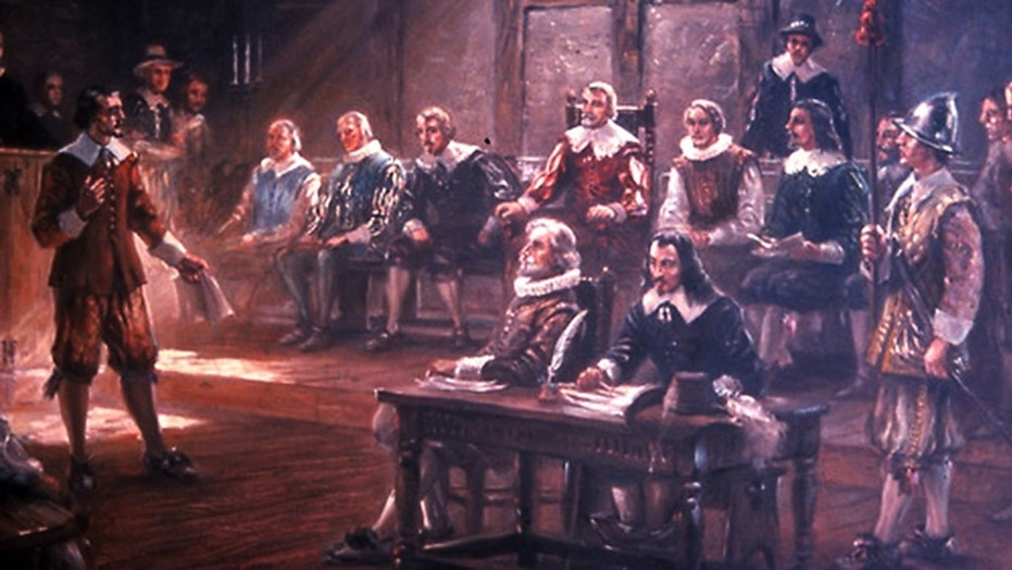 A modern painting by Sidney King (circa 1950s) portraits the first legislative assembly held in English North America.
