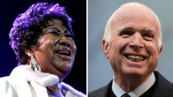 Aretha Franklin and John McCain. AP photos