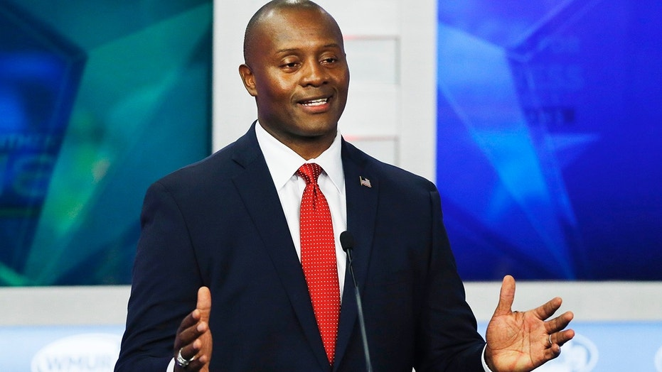 Republican hopeful for New Hampshire's 1st Congressional District Eddie Edwards speaks during a debate at St. Anselm College in Manchester, N.H., Thursday, Sept. 6, 2018.