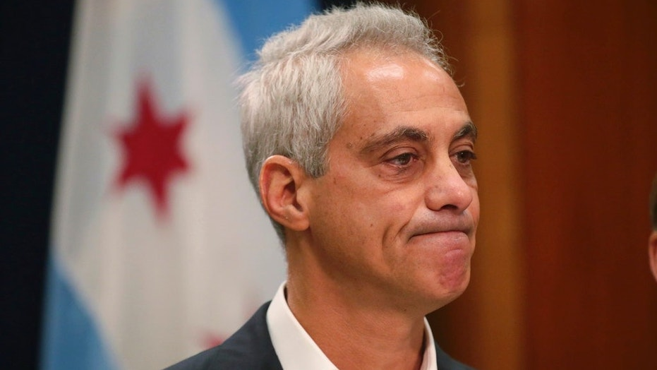 Chicago Mayor Rahm Emanuel announces Tuesday, Sept. 4, 2018, he will not seek a third term in office at a press conference on the 5th floor at City Hall in Chicago. (Stacey Wescott/Chicago Tribune via AP)
