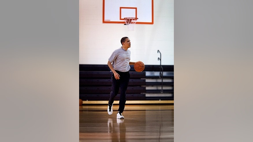 May 9, 2009. President Obama shoots some hoops at Ft. McNair. White House Photo.