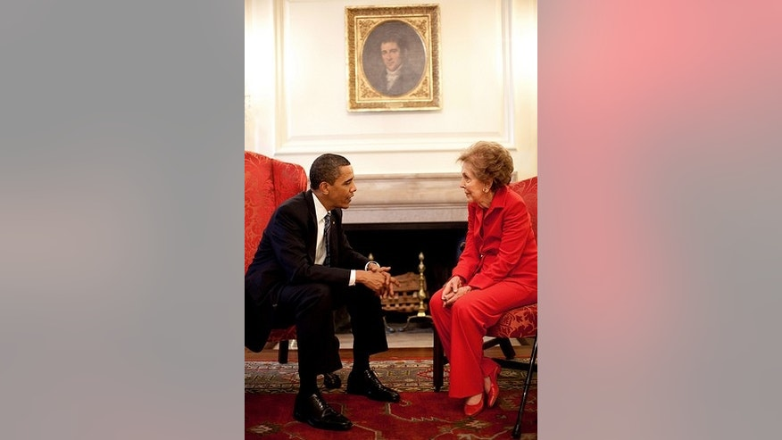 President Barack Obama meets with former First Lady Nancy Reagan prior to a bill signing ceremony in the White House for the Ronald Reagan Centennial Commission Act, June 2, 2009. (Official White House Photo by Pete Souza)