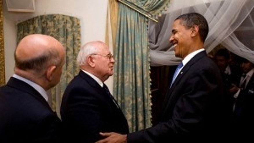 President Barack Obama meets with Mikhail Gorbachev, former leader of the Soviet Union, in Gostinny Dvor, Russia, Tuesday, July 7, 2009. (Official White House Photo by Pete Souza)