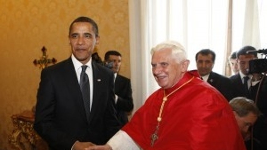 President Barack Obama shakes hands with Pope Benedict XVI, Friday, July 10, 2009, at the Vatican. (AP Photo/Haraz N. Ghanbari)
