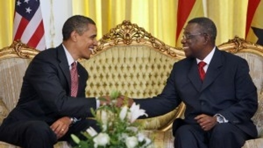 "President Barack Obama, left, meets with Ghana President John Atta Mills at the Presidential Palace in Accra, Ghana, Saturday, July 11, 2009. Obama says his trip to Africa at the end of a whirlwind world tour is designed to illustrate that ""Africa is not separate from world affairs."" (AP Photo/Haraz N. Ghanbari)"