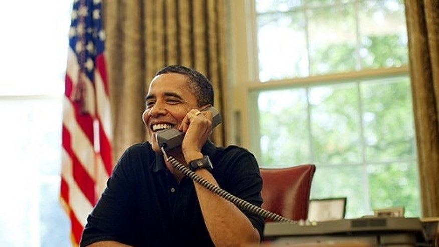President Barack Obama talks by phone with U.S. Supreme Court Justice nominee, Judge Sonia Sotomayor, from the Oval Office of the White House in Washington, Sunday, July 12, 2009. Official White House Photo by Lawrence Jackson