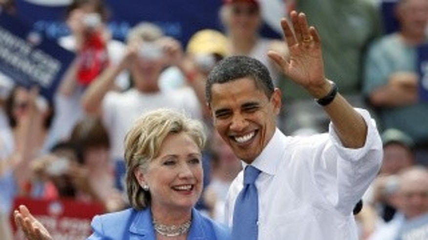 Clinton with Obama on the campaign trail, June 27, 2008