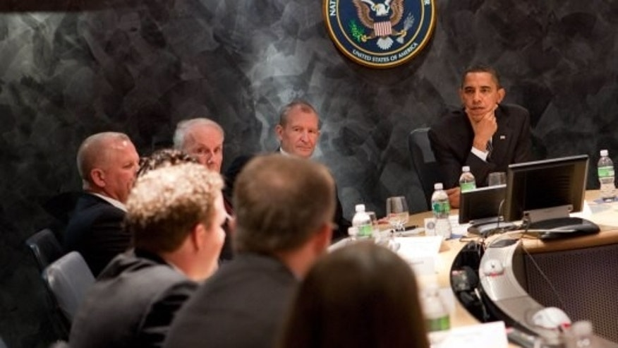 (President Barack Obama meets with the National Counter Terrorism Center (NCTC) leadership and analysts during his visit to the NCTC in McLean, Virginia, October 6, 2009. Official White House Photo by Samantha Appleton)