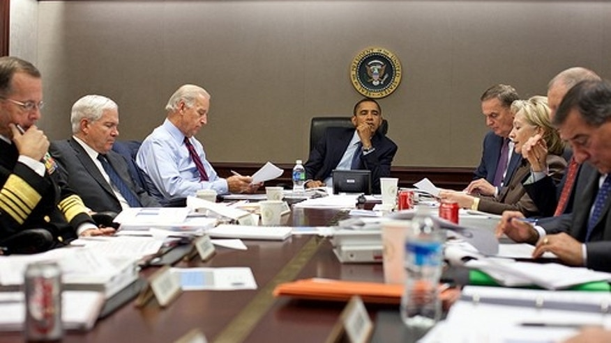 President Barack Obama listens during a meeting about the current situation in Pakistan Oct. 7, 2009 in the Situation Room of the White House. Left to right, Adm. Michael Mullen, chairman of the Joint Chiefs of Staff; Defense Secretary Robert Gates; Vice President Joe Biden; the President; National Security Advisor Gen. James Jones; Secretary of State Hillary Clinton; Director of National Intelligence Adm. Dennis C. Blair (partially obscured); and CIA Director Leon Panetta. (Official White House photo by Pete Souza)