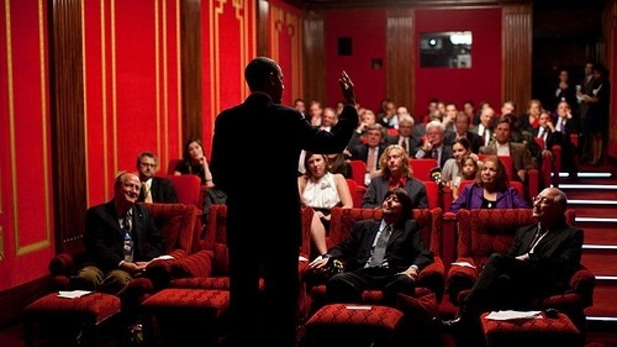 President Barack Obama hosts a screening for a documentary on the National Parks directed by Ken Burns and written and co-produced by Dayton Duncan in the Family Theater at the White House, Sept. 17, 2009. (Official White House Photo by Pete Souza)