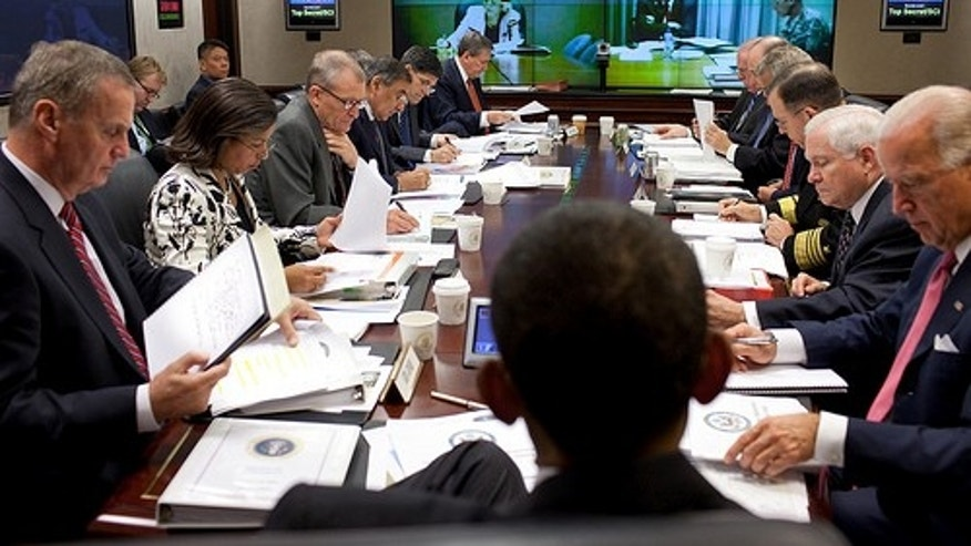 President Barack Obama holds briefing on Afghanistan and Pakistan in the Situation Room of the White House on Oct. 14, 2009.