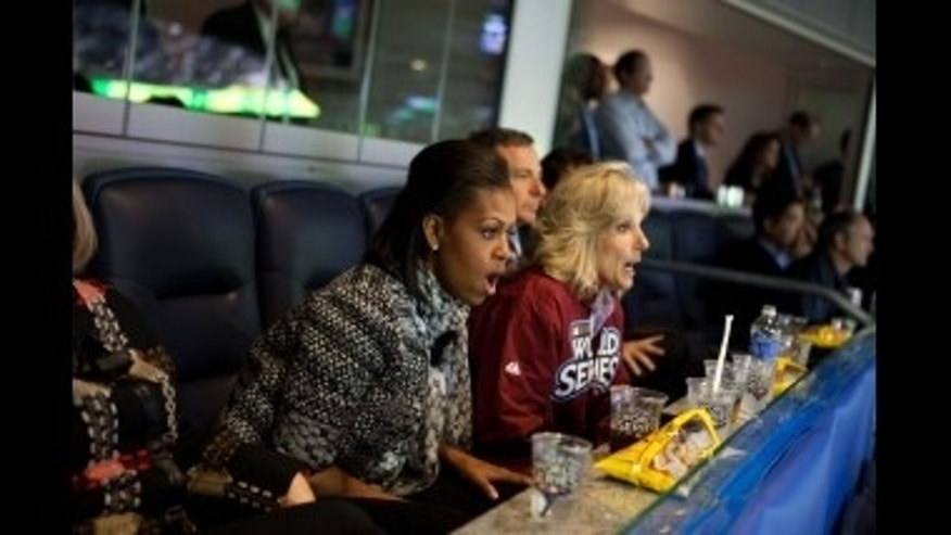 First Lady and Dr. Jill Biden enjoy World Series Game One. White House Photo
