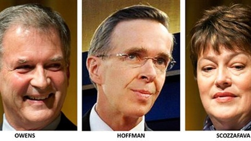 Congressional candidates in New York's 23rd district: Democrat Bill Owens, Conservative Party Dan Hoffman, and Republican Dede Scozzafava. (AP)
