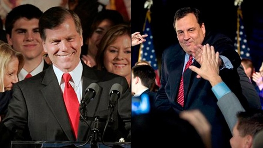 Virginia gubernatorial candidate Bob McDonnell, left, and New Jersey gubernatorial candidate Chris Christie won their respective races Tuesday. (AP Photos)
