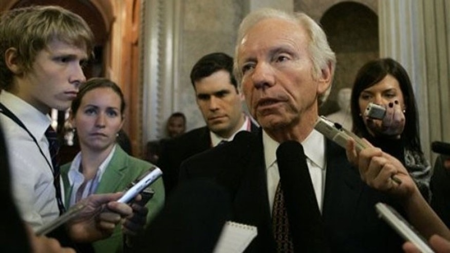 Oct. 27: Sen. Joseph Lieberman, I-Conn., speaks to reporters on Capitol Hill in Washington (AP).