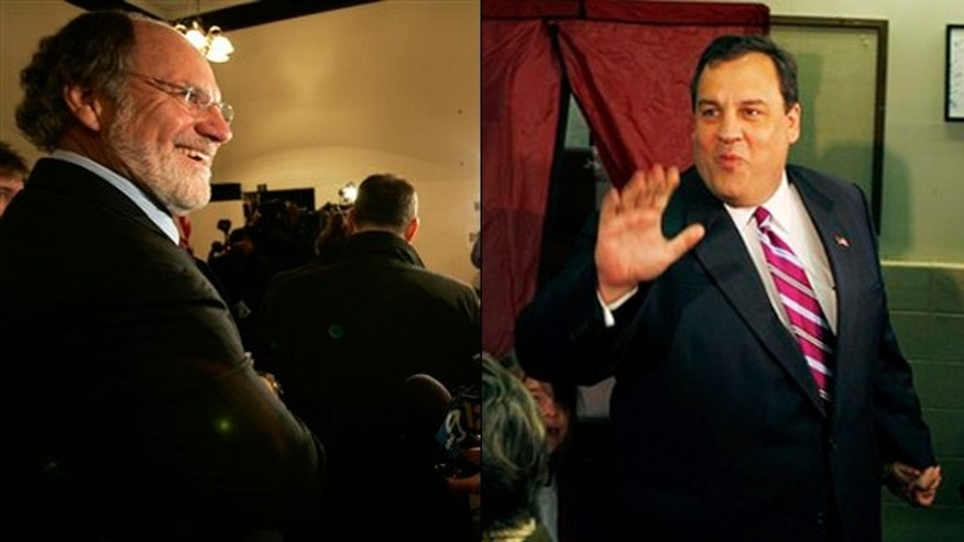 New Jersey Gov. Jon Corzine, left, faced off against Chris Christie, right, in the race for governor. (AP Photos)