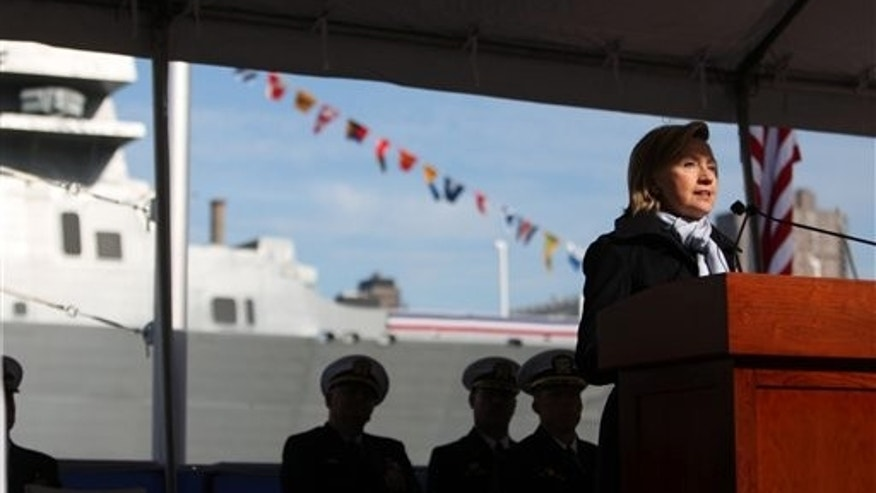 Nov. 7, 2009: Secretary of State Hillary Clinton speaks as the USS New York, a Navy amphibious assault ship containing 7.5 tons of steel salvaged from the World Trade Center, gets formally commissioned in New York.