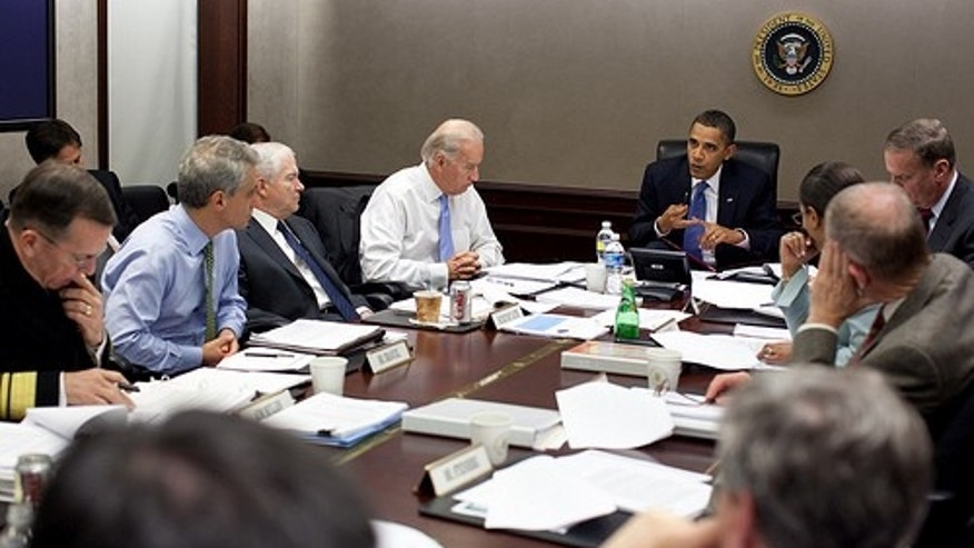 President Barack Obama meets with national security team to discuss Afghanistan in Situation Room of the White House on Nov. 11, 2009.