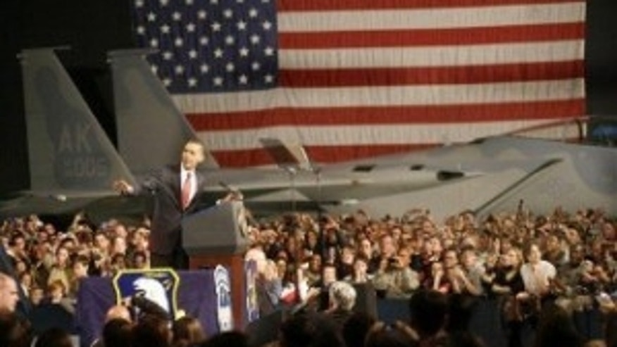 President Obama holds a rally with troops at Elmendorf Air Force Base (AP Photo)