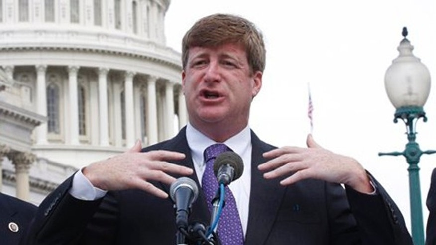 In this Sept. 22 file photo, Rep. Patrick Kennedy gestures during a news conference on Capitol Hill. (AP Photo)