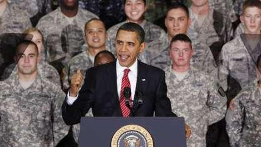 President Obama delivers a speech during a rally with troops at Osan Air Base in South Korea Nov. 19. (Reuters Photo)