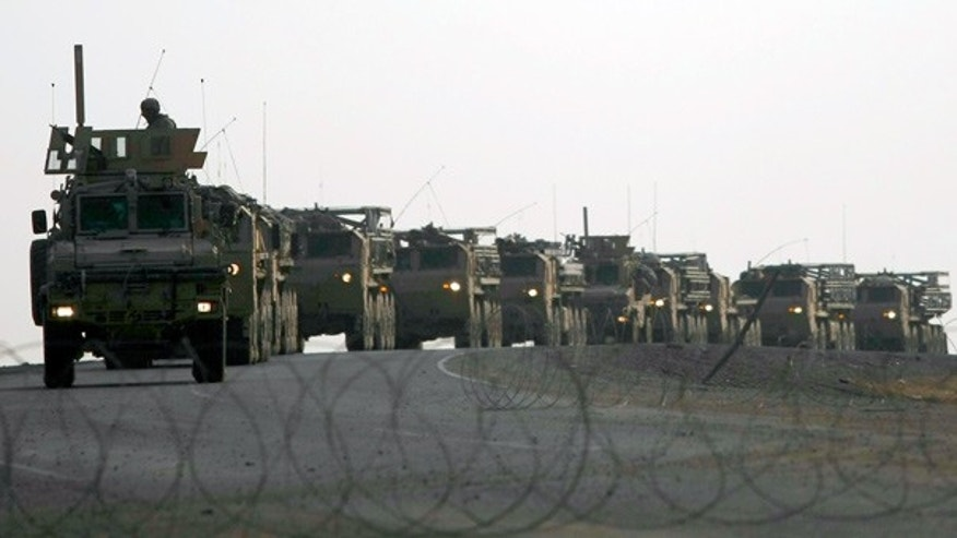 Nov. 30: A large U.S. Army vehicle convoy near the town of Maidan Shar in Afghanistan. (AP)
