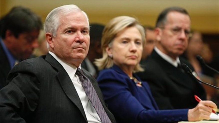Defense Secretary Robert Gates, left, Secretary of State Hillary Clinton, middle, and Chairman of the Joint Chiefs of Staff Adm. Mike Mullen, testify on Capitol Hill Dec. 2. (AP Photo)