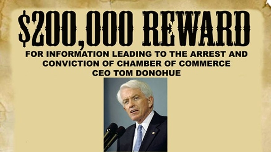 Shown here is the ad asking for damaging information about Chamber of Commerce CEO Tom Donohue. (Velvet Revolution)