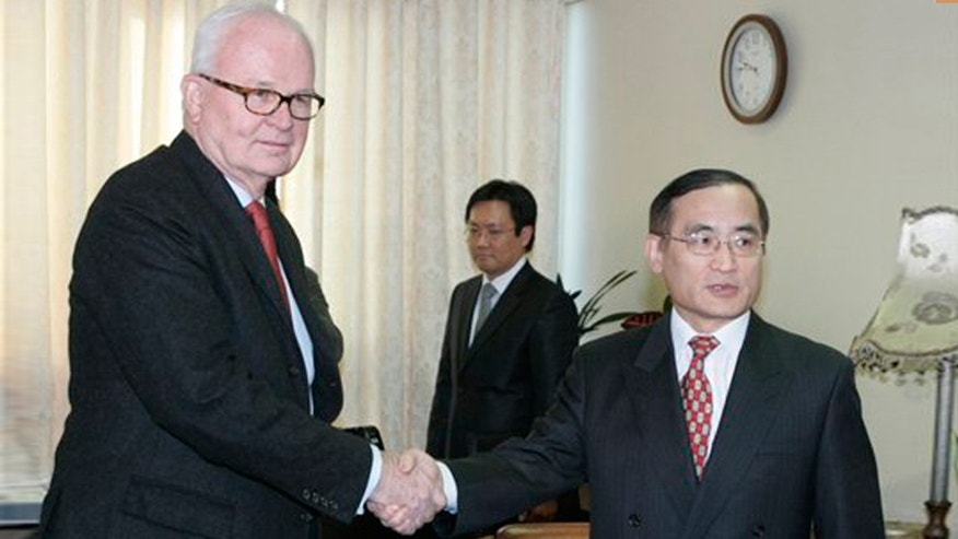December 7: U.S. special envoy to North Korea Stephen Bosworth and South Korea's nuclear envoy Wi Sung-lac pose before their meeting at the Foreign Ministry in Seoul. (AP)