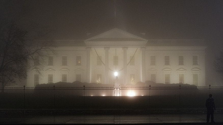Dec. 13: The White House is enveloped in fog. (AP)