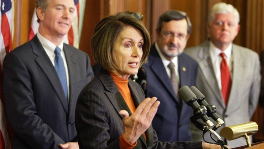 Dec. 16, 2009: Speaker Nancy Pelosi speaks during a news conference with other House leaders on Capitol Hill in Washington. (AP)