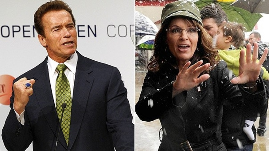 California Governor Arnold Schwarzenegger is seen at the U.N. Climate Summit in Copenhagen, while former Alaska Governor Sarah Palin is seen at a book signing in Fairfax, Virginia. (Reuters photos)