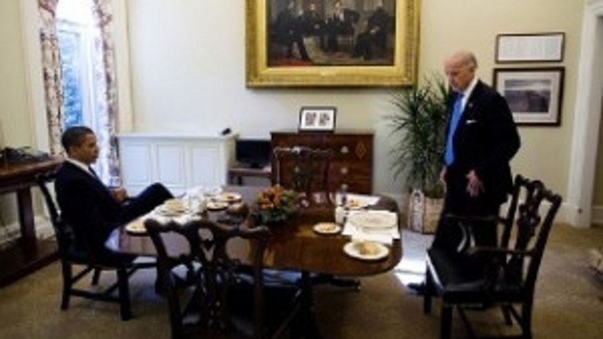 President Obama and Vice President Biden have lunch in the Oval Office Private Dining Room, Nov. 5, 2009. (WH Photo)