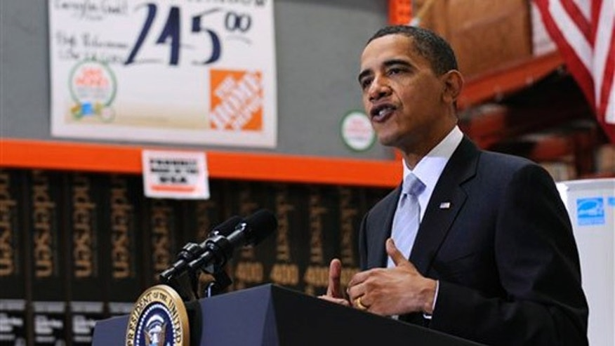 President Barack Obama speaks during a visit to Home Depot in Alexandria, Va., Tuesday, Dec. 15, 2009. (AP)