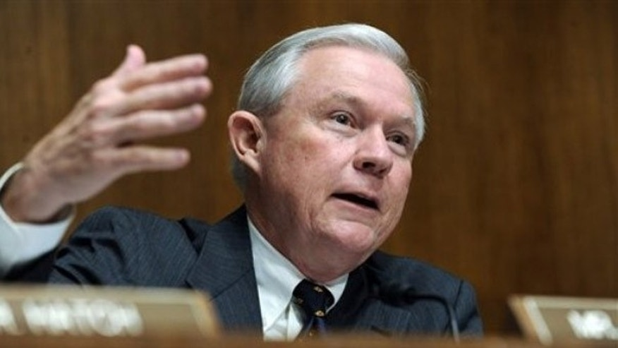 File: Sen. Jeff Sessions, R-Ala., claims Democrats are double-counting Medicare savings in the Senate health insurance overhaul and the bill will add to the deficit (AP)