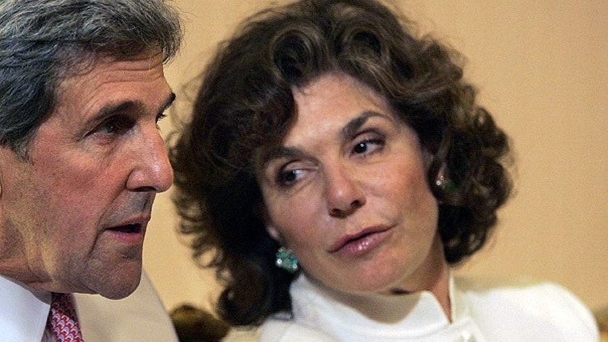 File: Teresa Heinz watches election results with her husband Sen. John Kerry. (AP)