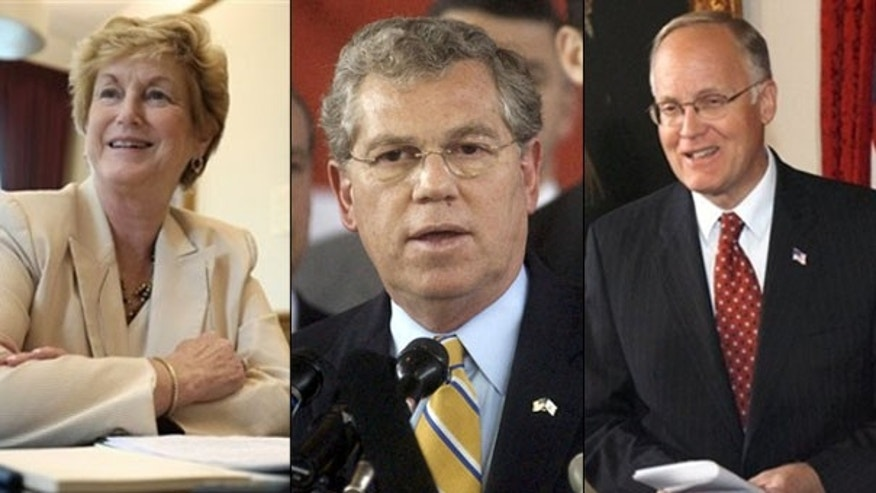 Shown here, from left to right, are Connecticut Gov. Jodi Rell, Rhode Island Gov. Donald Carcieri, and Vermont Gov. Jim Douglas, all outgoing Republicans. (AP Photos)