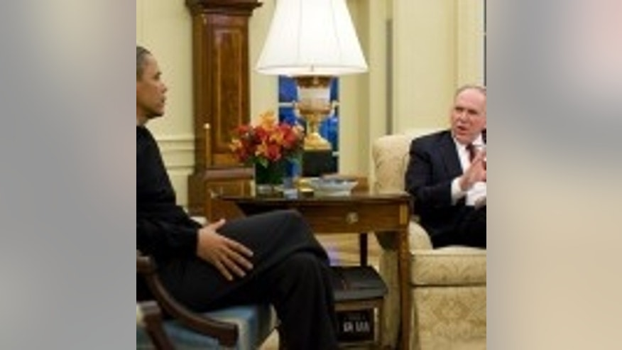 President Obama meets with Homeland Security and Counter-Terrorism Adviser John Brennan. January 5, 2010. (White House Photo)